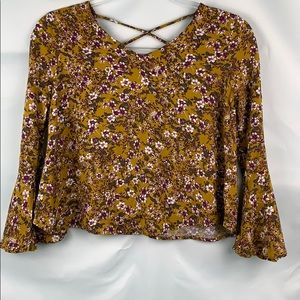 Art Class mustard cropped top with bell sleeves